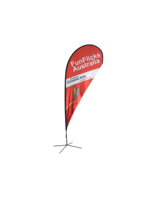 11ft Teardrop Flying Banner with Cross Base & Water Bag - 2PCS
