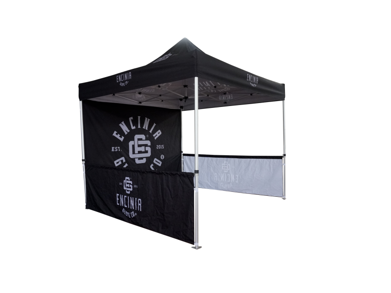 10x10ft Aluminum Pop Up Tent with single side printed full back wall and 2 half side walls