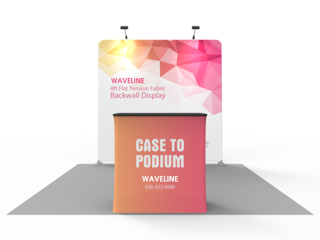 Waveline 8ft Straight tension fabric trade show display kit